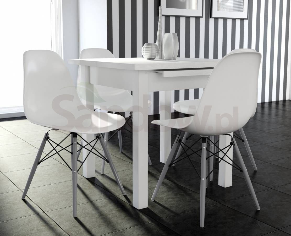 Styl Ikea Drewniany Stół Max7 4 Krzesła K 87 Biały